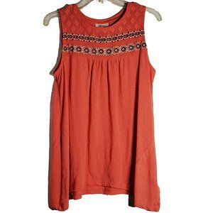 Style & Co Coral Embroidered Sleeveless Tunic